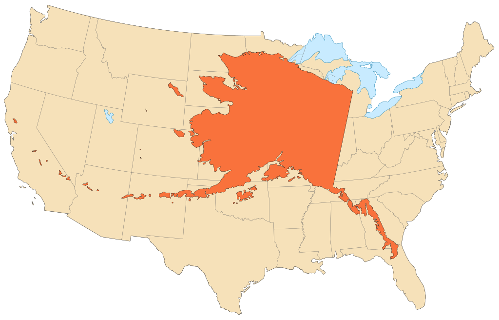Jól érzékelteti Alaszka valódi méreteit, ha kontúrjait a kontinentális Egyesült Államokra helyezzük - utóbbi területe nagyjából Európáéval megegyező! (forrás: Wikipedia)
