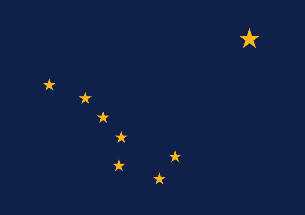 Alaszka zászlaját egy akkor alig tizennégy éves fiúcska, Benny Benson tervezte meg egy 1927-es pályázatra. A jobb felső sarokban lévő csillag a Sarkcsillagot jelképezi, míg a zászló bal alsó részén lévő csillagkép a Göncölszekér (Nagy Medve-csillagkép). (forrás: Wikipedia)