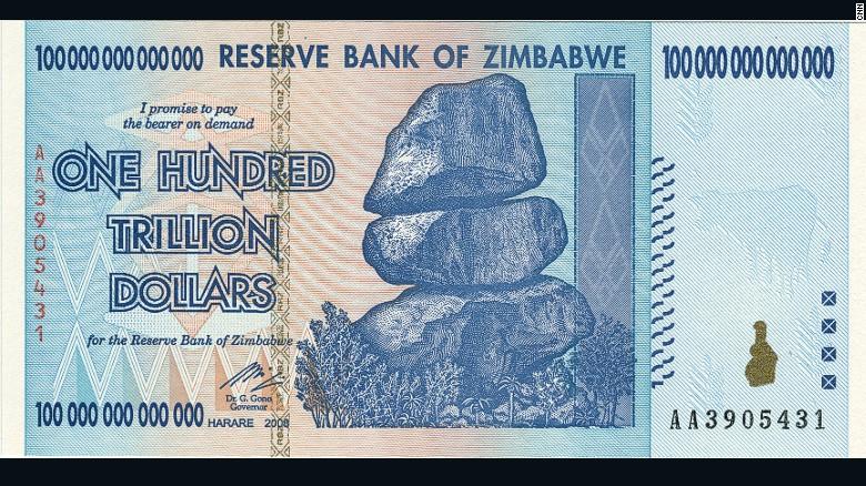 Rodézia (Zimbabwe) egykoron Fekete-Afrika egyik legfejlettebb gazdasága volt. Az 1980-as évektől hozott hibás döntések azonban ezt tönkrevágták. A 2000-es évek végére száguldó hiperinfláció során majdnem megdöntötték a legnagyobb névértékű bankjegy kibocsájtásának Magyarország (pengő) által tartott rekordját. Nem sokkal később a zimbabwei dollár, mint fizetőeszköz megszűnt létezni. (forrás: Wikipedia)