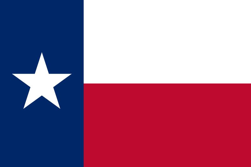A második texasi zászló, amely még ma is az állam jelképe a magányos csillaggal. (forrás: Wikipedia)