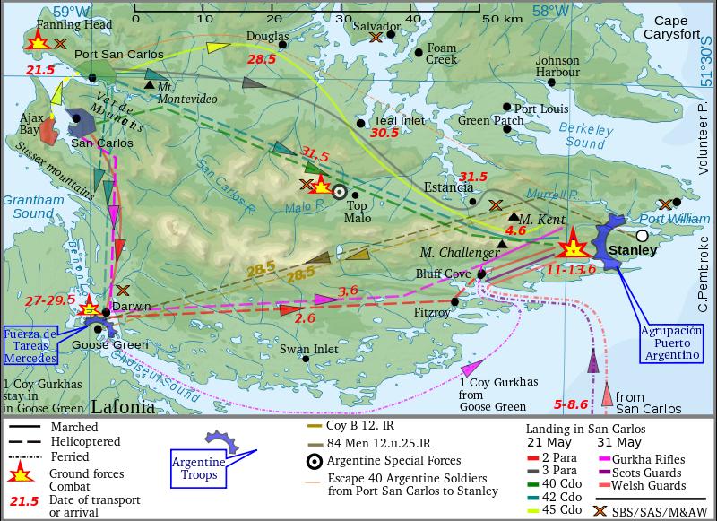 A főbb szárazföldi hadműveletek térképe. A britek a Keleti-Falkland sziget nyugati részén szálltak partra, s onnan nyomultak előre a főváros, Port Stanley irányába. (forrás: Wikipedia)
