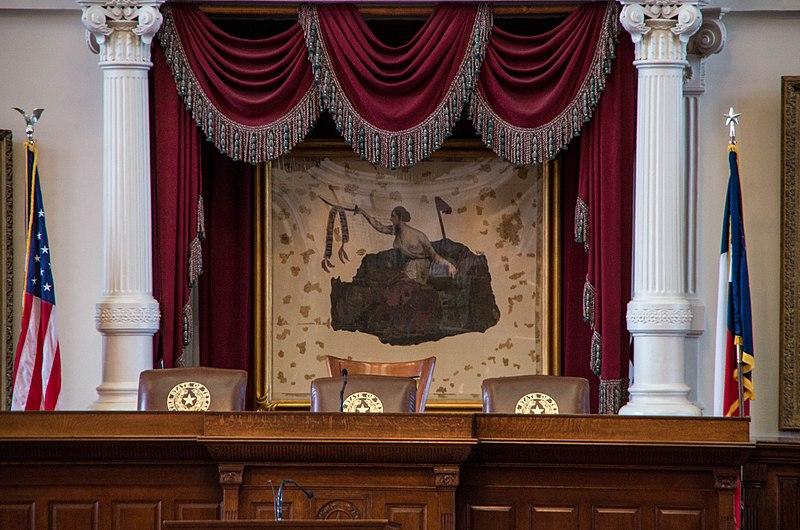 A San Jacinto-i csatában használt texasi lobogó ma a texasi törvényhozásban látható. (forrás: Wikipedia)