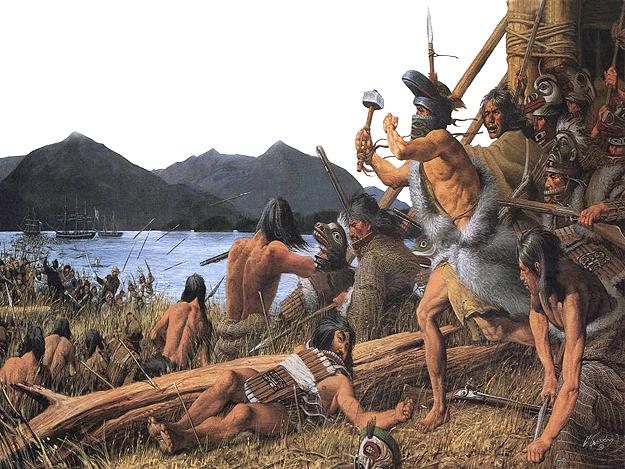 Festmény az 1804-es sitkai csatáról, amely az őslakosok utolsó jelentősebb fegyveres megmozdulása volt az orosz gyarmatosítók uralma ellen. (forrás: Wikipedia)