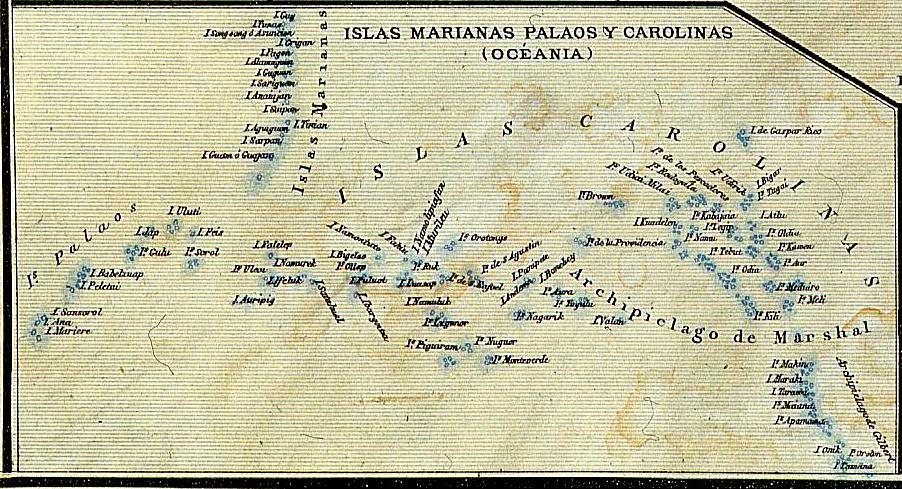 Palauról készített spanyol nyelvű térkép. (forrás: Wikipedia)