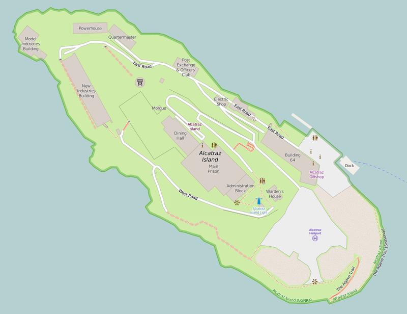Alcatraz térképe. (forrás: Wikipedia)