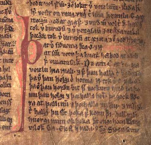 A régi viking történeteket, mondákat rögzítő izlandi sagák egyik példányának oldala. A jobbára csak a szigetországból ránk maradt sagák az északi kultúra és történelem legfontosabb forrásművei közé tartoznak. (forrás: Wikipedia)