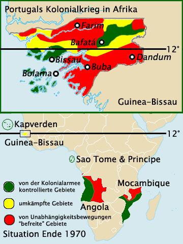 A háború utolsó szakaszában a gyarmati területek egy jelentős részét már nem a portugálok ellenőrizték - csak a nagyobb városokban és azok környékén lobogott végig büszkén a portugál zászló. (forrás: Wikipedia)
