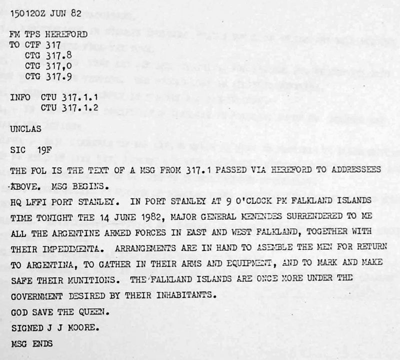 Az argentin erők megadásáról Londont tájékoztató telegram. (forrás: Wikipedia)