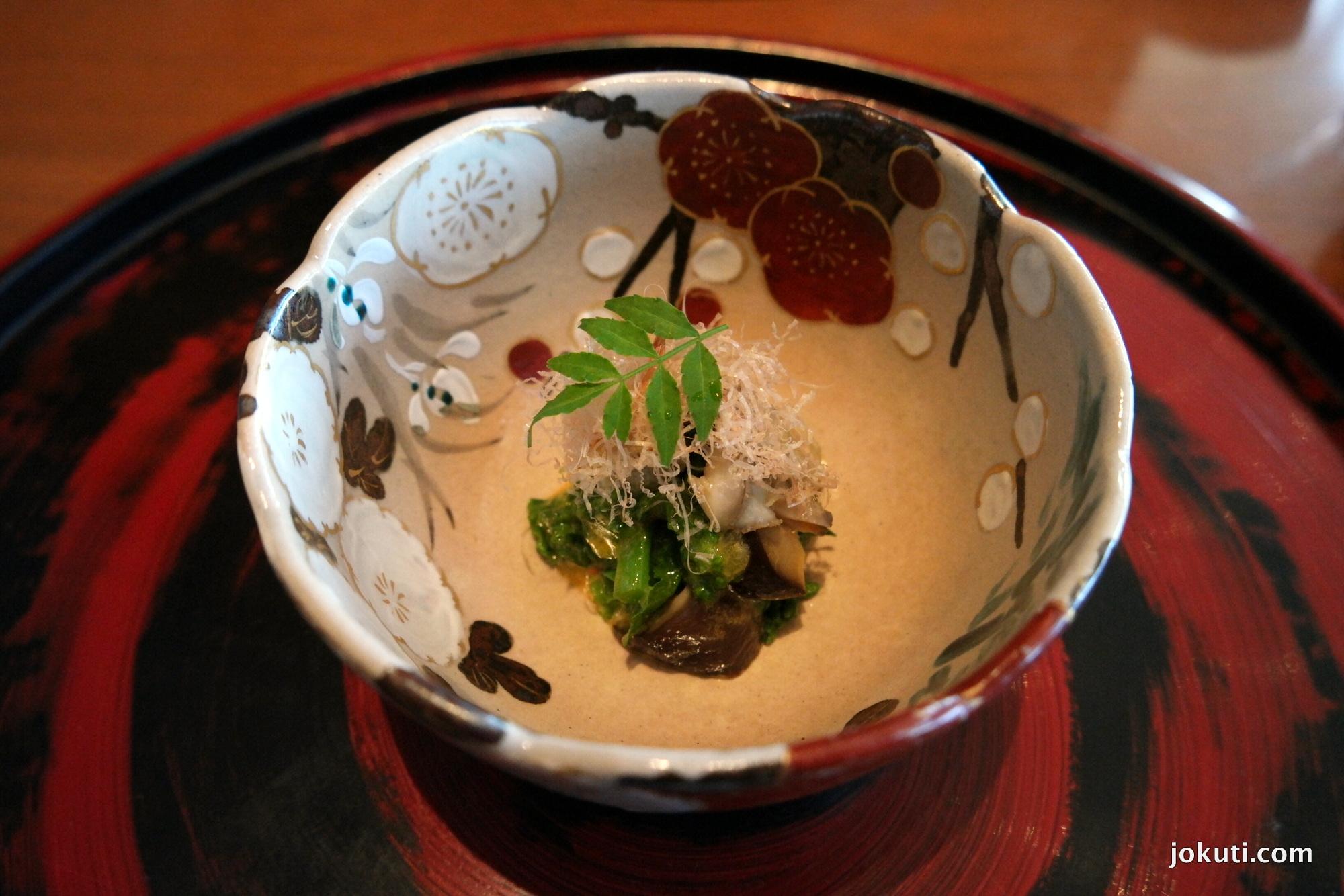 Simmered clams, natane greens, shiitake mushrooms, mustard