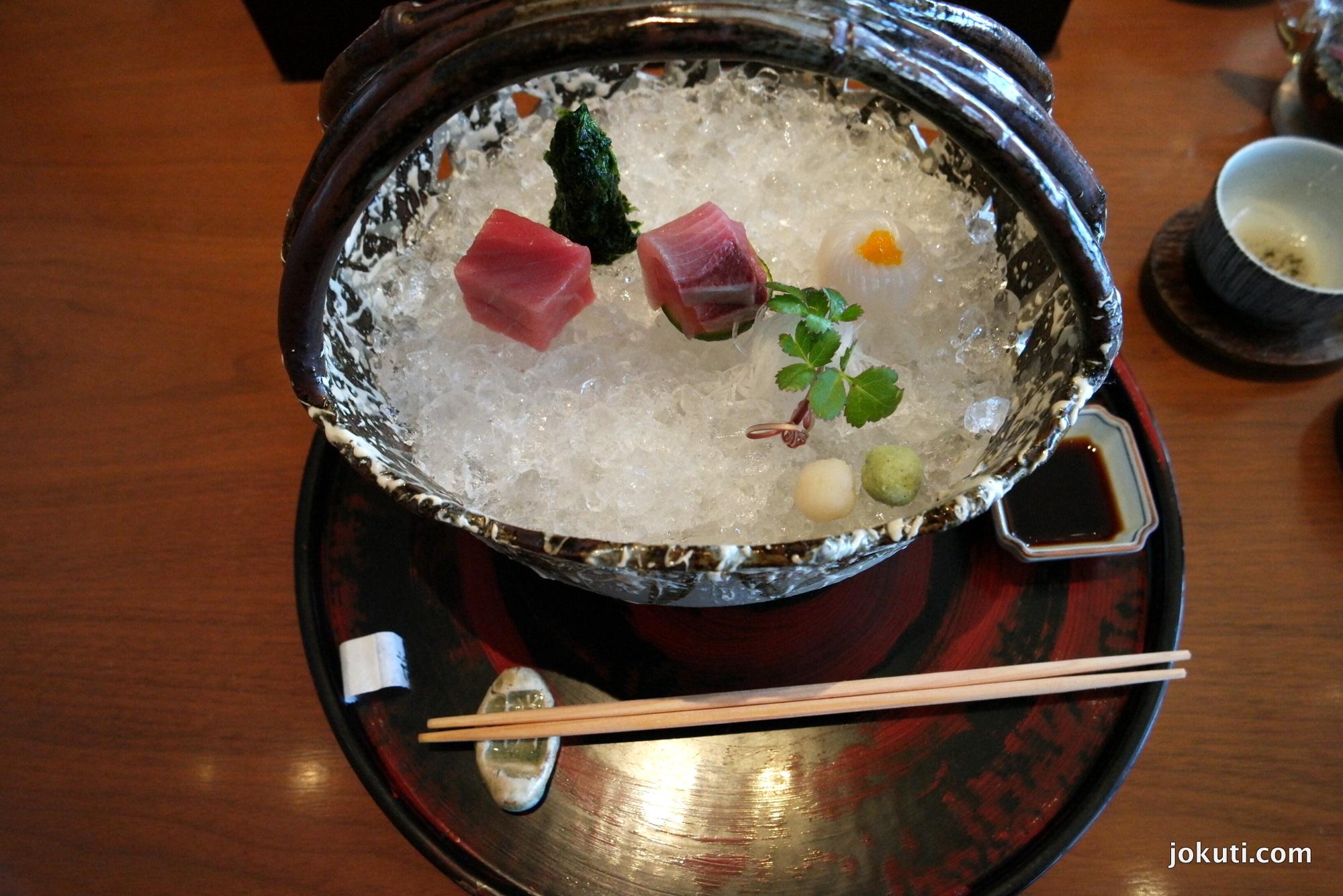 Red tuna, yellowtail, squid sashimi