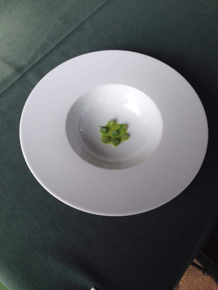 Mangetout, marinated pike perch, dill. Laszlo Jahni (Kistucsok, Balatonszemes)