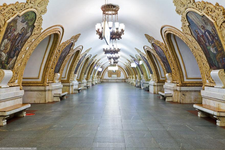 Kievskaya, Mayakovskaya And Park Pobedy Stations, Moscow.jpg