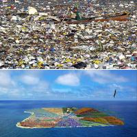 Lakóhely az óceánon műanyag hulladékból