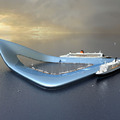 Hajóterminál a víz közepén Dubaiban