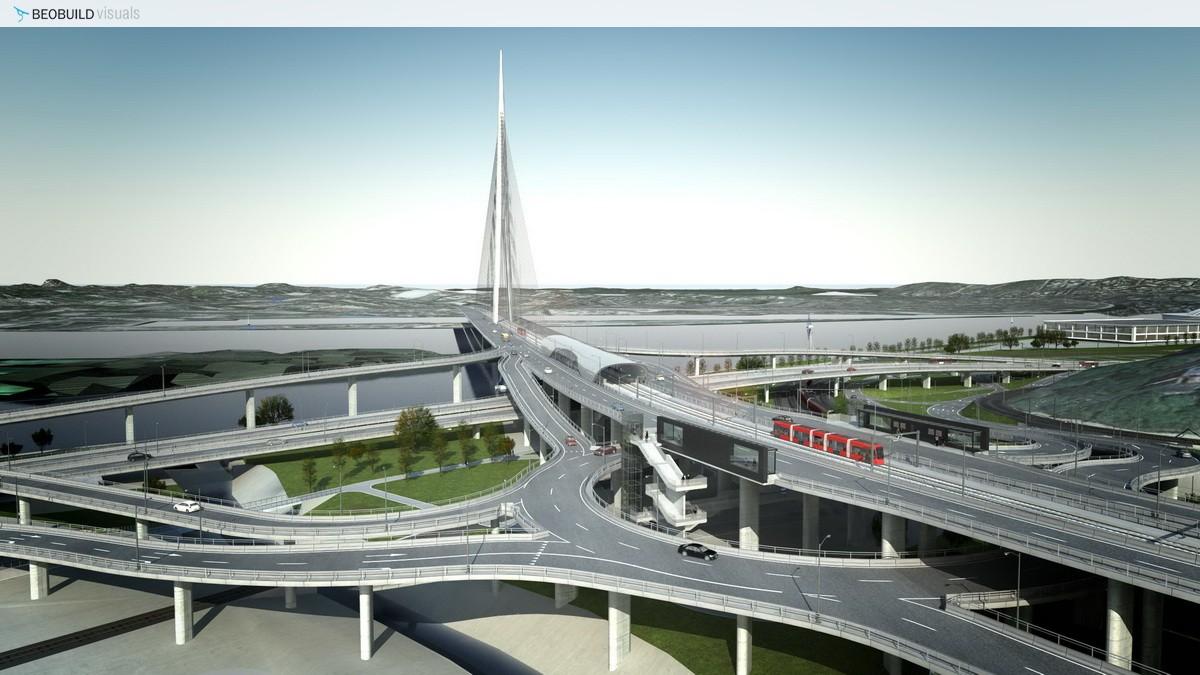 A Száva híd és az összekötő utak