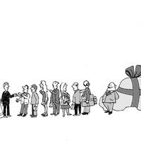 Az ajándékozás, ahogy a könyv rajzolója látja