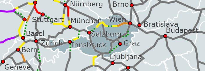 ausztria nagysebességű vasútvonal