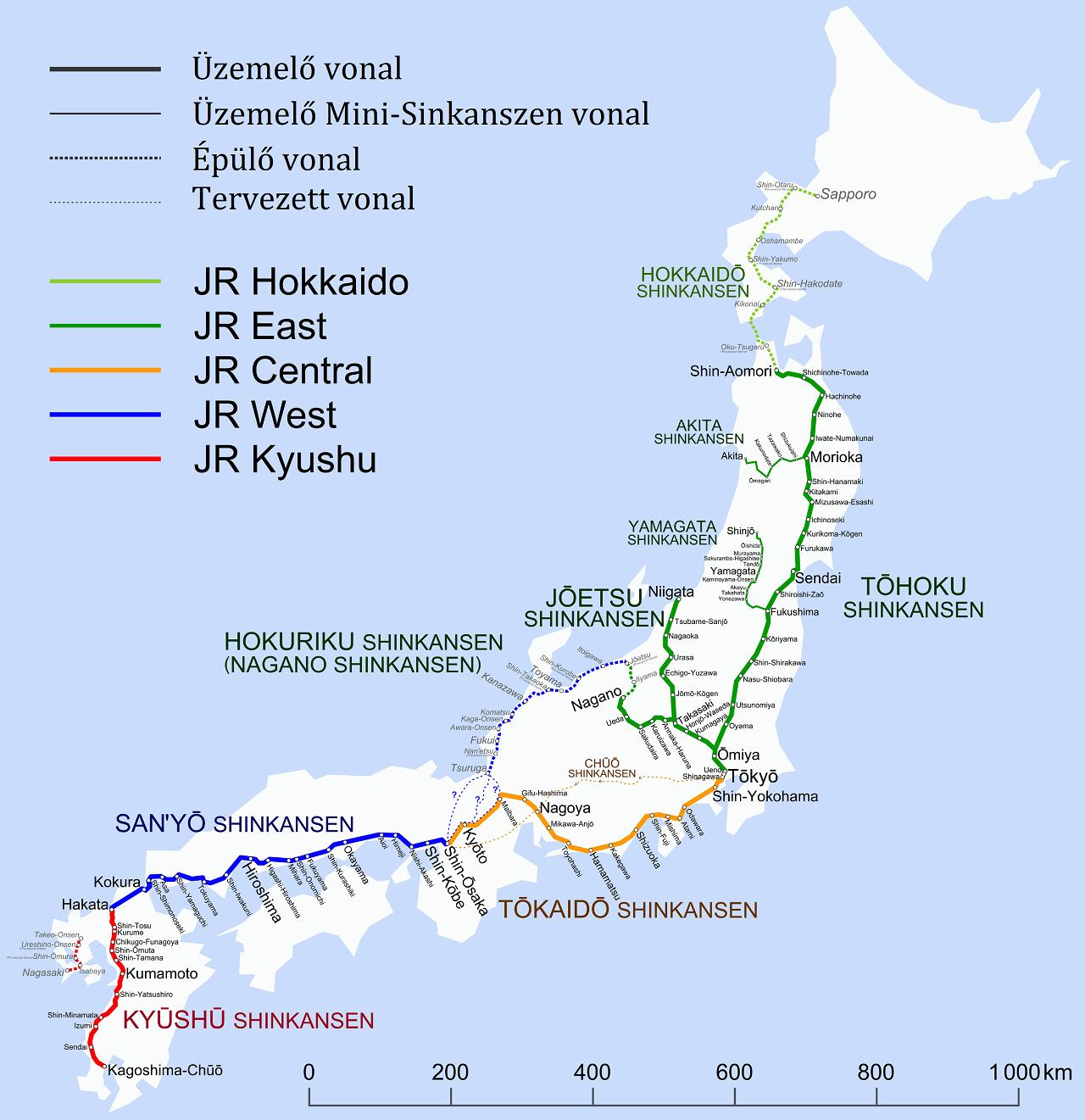Japán nagysebességű vasútvonalai