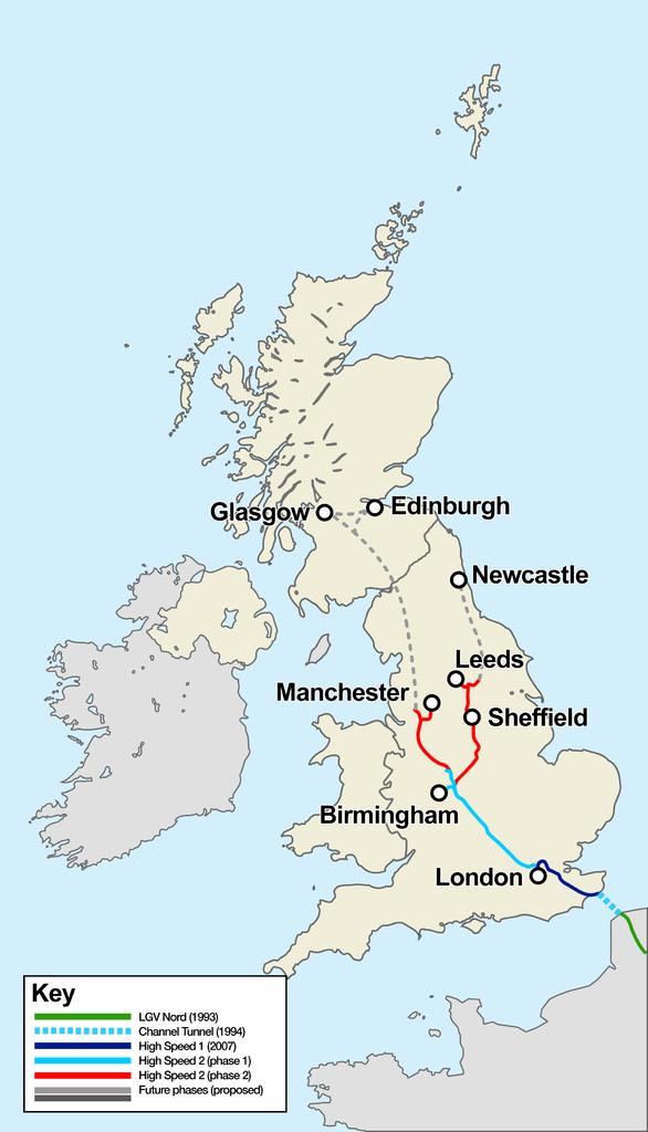 Egyesült királyság, nagysebességű vasút, térkép, HSL1, HSL2