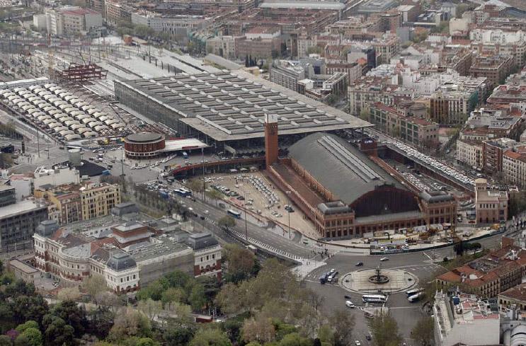 madrid Atocha pályaudvar, légifotó