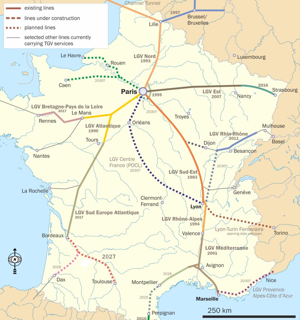 franciaország, TGV, térkép