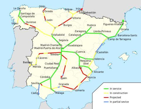 spanyolország ave térkép nagysebességű vasút