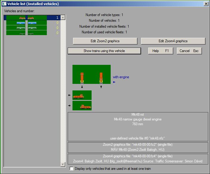 A szerkeszteni kívánt jármű kiválasztása és a beépített zoom2/zoom4 editor elindítása