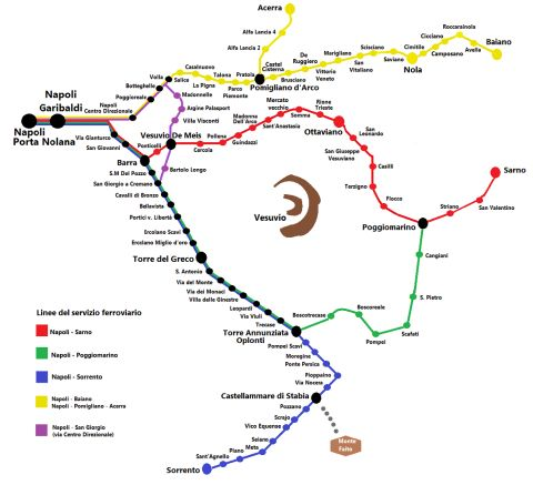 A Circumvesuviana térképe