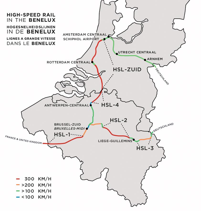 Hollandia és Belgium meglévő nagysebességű és nemzetközi vasúthálózata
