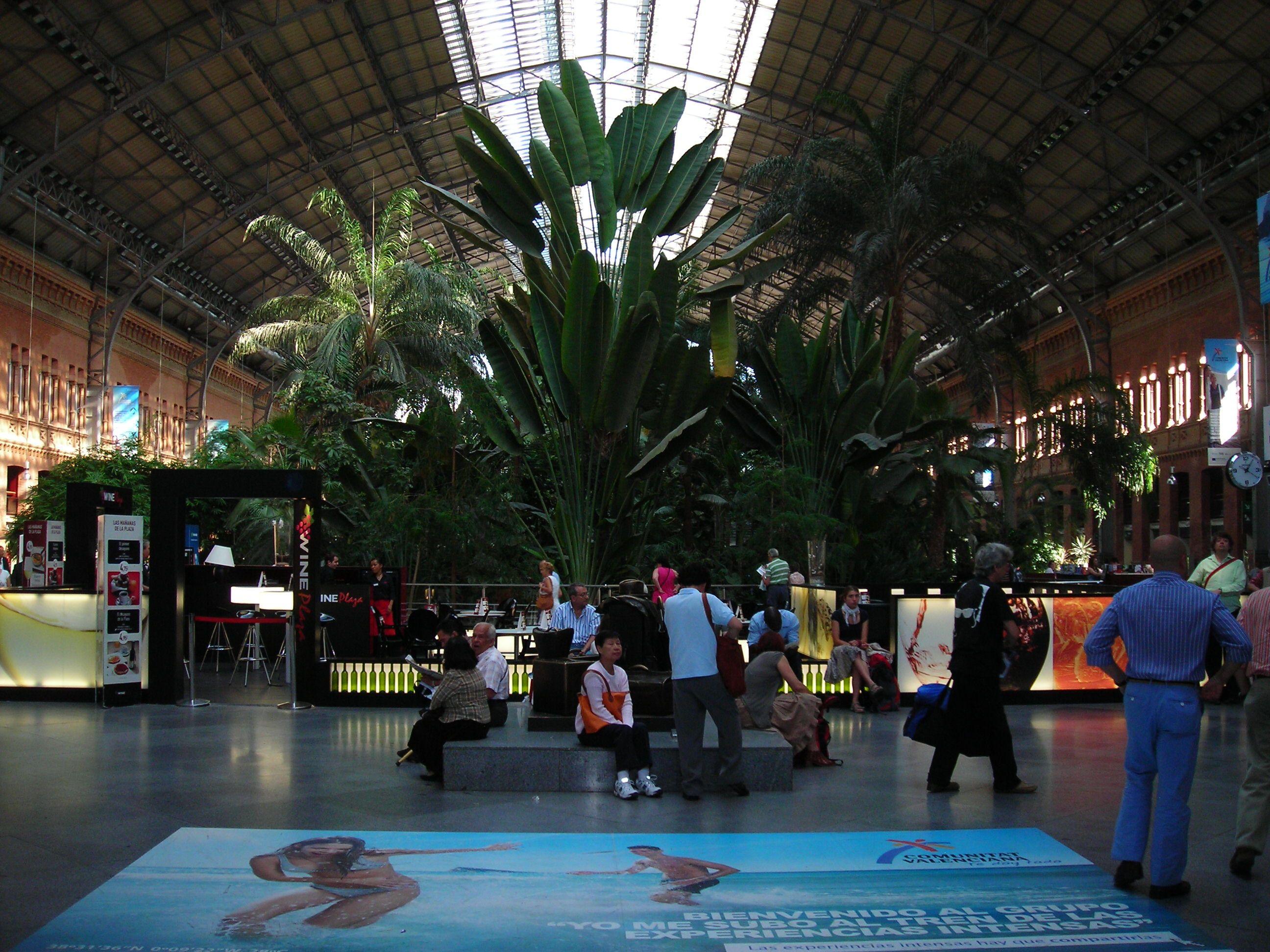 Madrid   Atocha pályaudvar régi csarnoka. Vonatok helyett ma pálmafákkal teli váróterem található itt