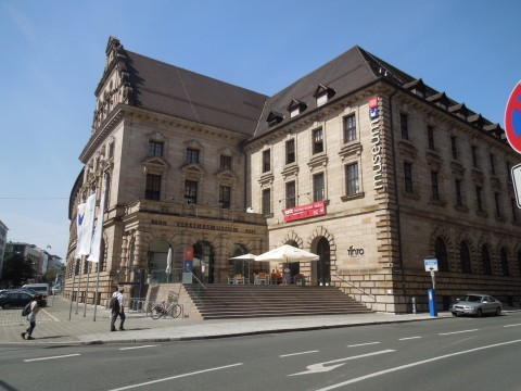 A Nürnbergi Deutsche Bahn múzeum bejárata