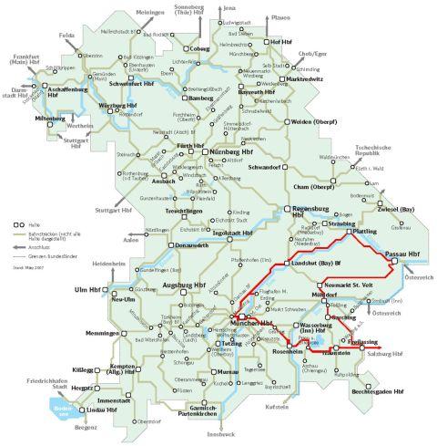 Bajorország vasúti térképe