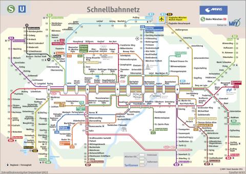 A Müncheni S-Bahn sematikus térképe