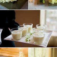 Modern esküvői asztaldísz