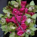 Pink-zöld menyasszonyi csokor
