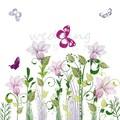 Lepkék és virágok - esküvői meghívó lila és zöld motívumokkal