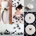 Fekete-fehér esküvő design lepkékkel