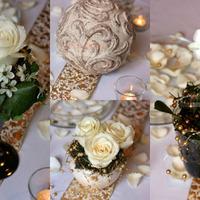 Fehér-arany esküvői asztaldísz