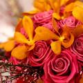 Pink narancs menyasszonyi csokor