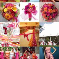 Színes esküvők - pink és narancs