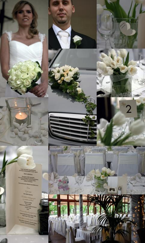 b212af7255 Az sok fehér és krém szín - amelyek általába véve az esküvők  legmegratározóbb színe - nagyon elegáns hangulatot adott az étteremnek.