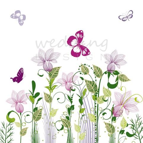 d9b4975776 Lepkék és virágok - esküvői meghívó lila és zöld motívumokkal ...
