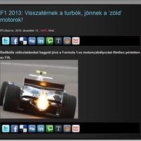 Visszatérnek a turbó motorok 2013-ban!!!!