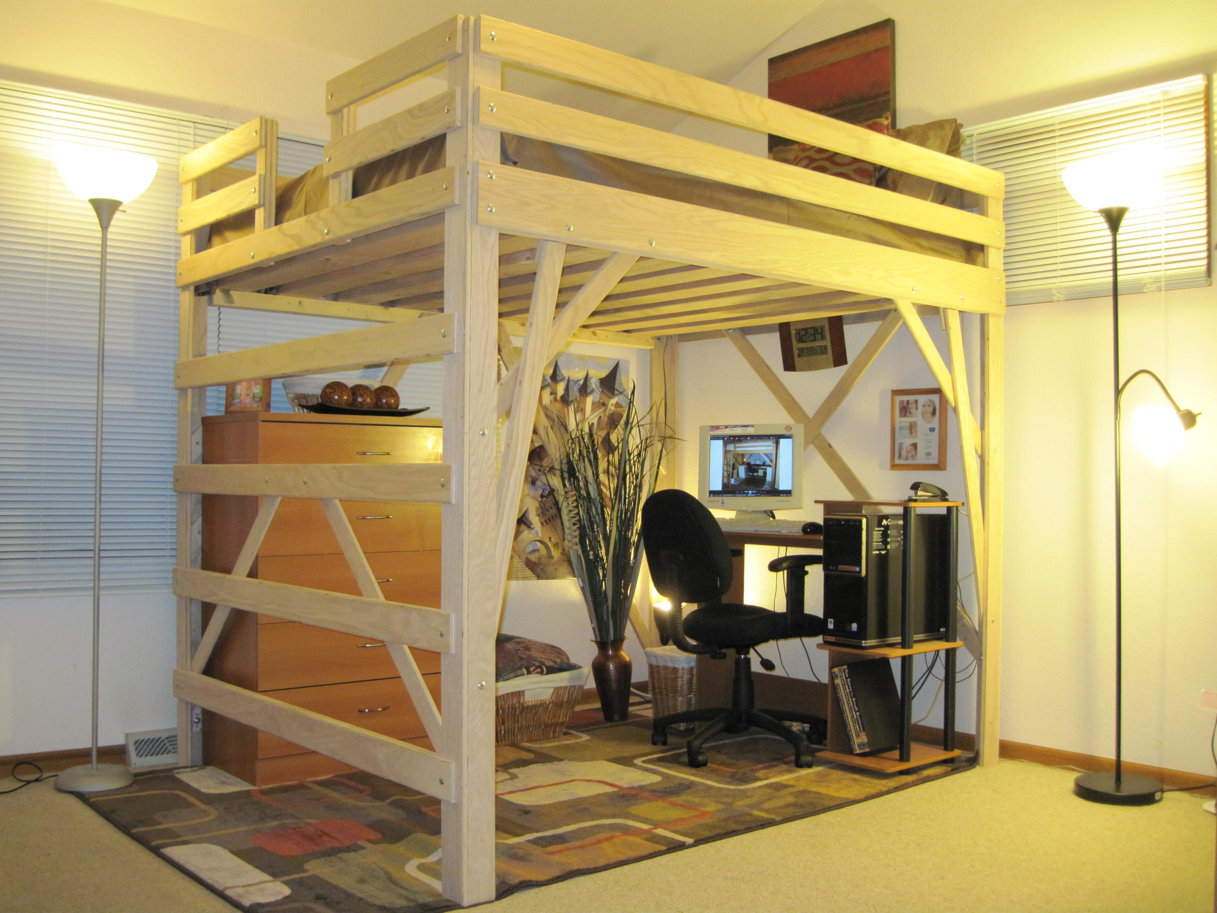 amazing-queen-loft-bed-plans-with-amazing-working-space-under-wooden-cabinet-and-doubled-floor-lamps-and-patterned-rug.jpg