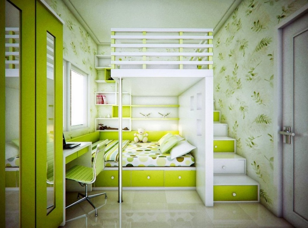 fern-themed-wallpaper-also-awesome-loft-bed-in-stunning-green-bedroom-feat-shallow-wall-shelves-for-knick-knack-1024x761.jpg