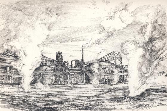 geotermikus erőmű tollrajz