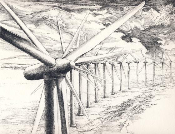 szélfarm tollrajz