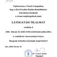 Látogatási tilalom a zirci kórházban - 2020.02.24-től