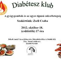 Diabétesz klub 2012. október 18. csütörtök 17 óra