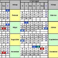 Munkanap-táblázat 2012. évre